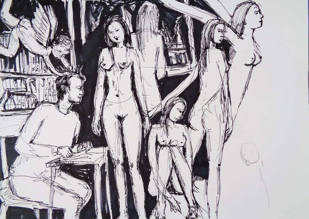 Amor mañana, dibujo a pluma de Elisaveta Sivas